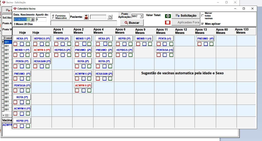 Tela Calendário MAM Vacina | Sistemas para Laboratórios de Análises Clínicas
