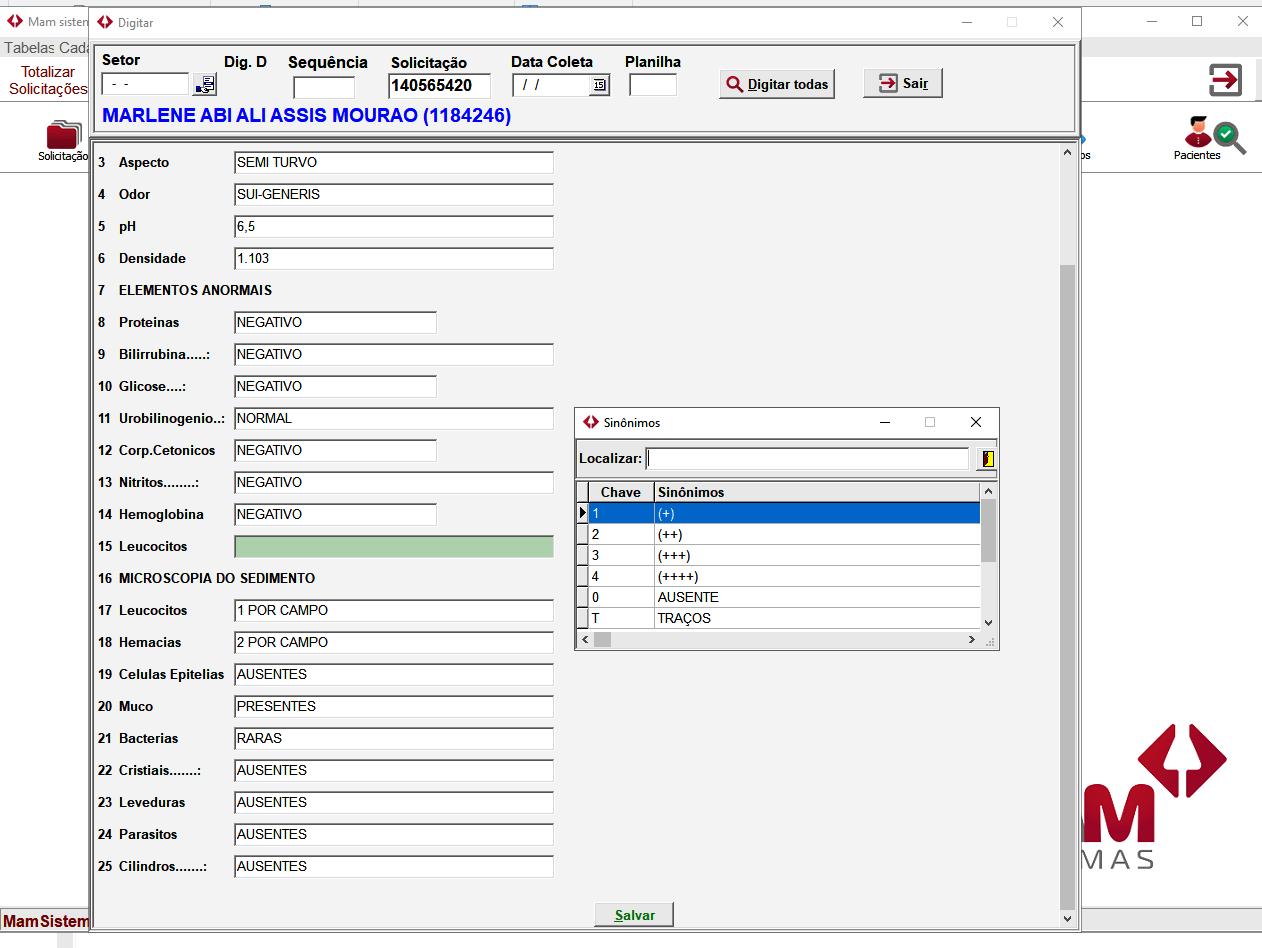 Tela Digitação MAM Lab | Sistemas para Laboratórios de Análises Clínicas