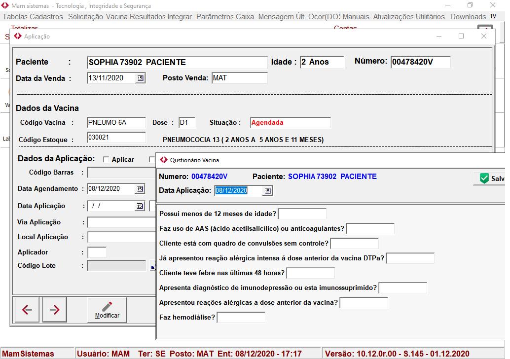 Tela Questionário Aplicação | Sistemas para Laboratórios de Análises Clínicas