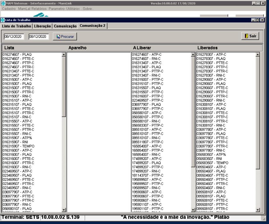 Tela Dashboard Comunicação 2 MAM Link | Sistemas para Laboratórios de Análises Clínicas