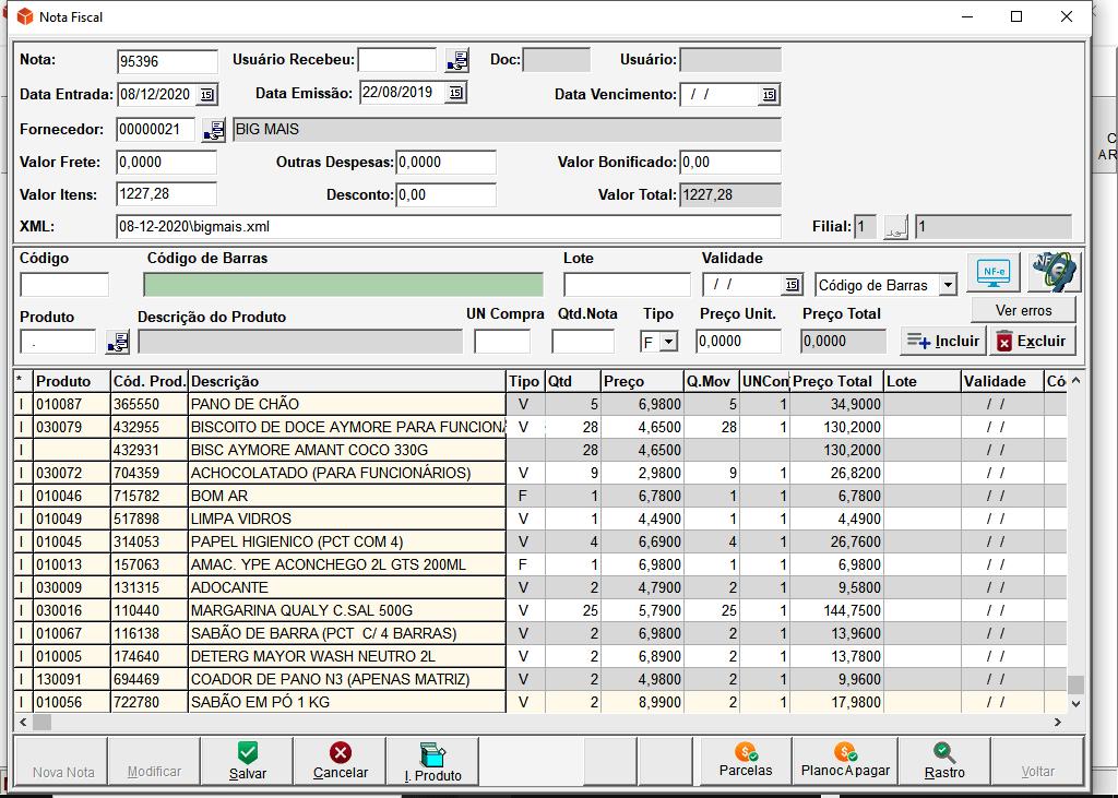 Tela Nota Fiscal | Sistemas para Laboratórios de Análises Clínicas