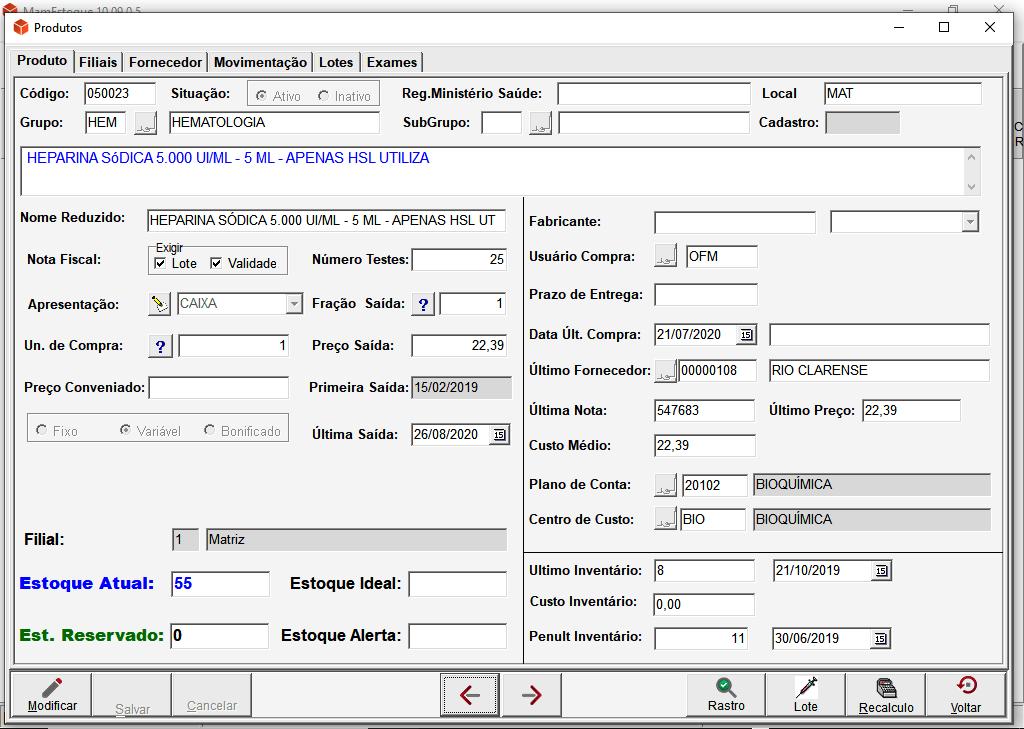 Tela Produto MAM Estoque | Sistemas para Laboratórios de Análises Clínicas